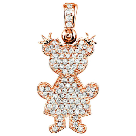 Jumbo Diamond Kids Sziro Girl Pendant for Mom, Grandma in 14k Pink Gold