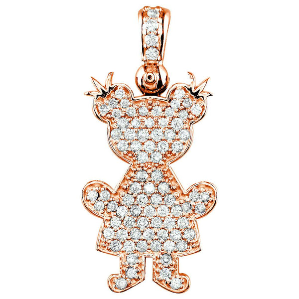 Jumbo Diamond Kids Sziro Girl Pendant for Mom, Grandma in 18k Pink Gold