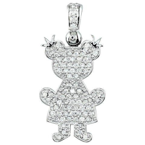 Jumbo Diamond Kids Sziro Girl Pendant for Mom, Grandma in 18k White Gold