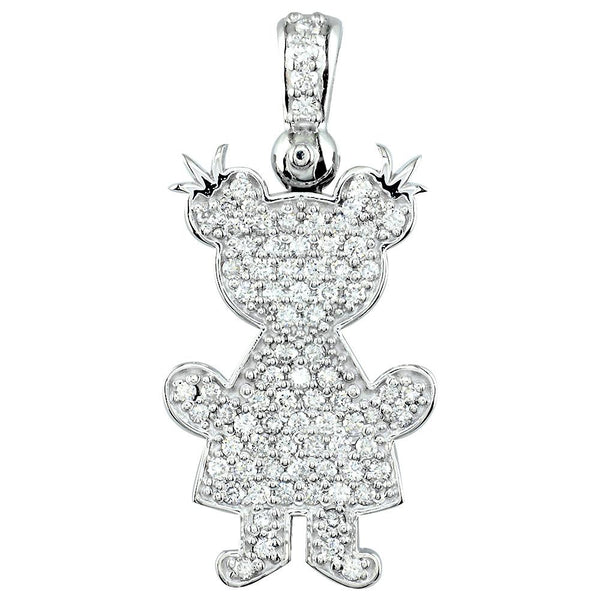 Jumbo Diamond Kids Sziro Girl Pendant for Mom, Grandma in 14k White Gold