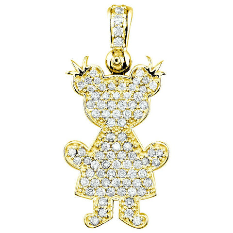 Jumbo Diamond Kids Sziro Girl Pendant for Mom, Grandma in 18k Yellow Gold