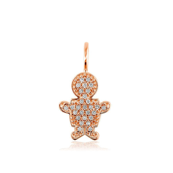 Small Cubic Zirconia Kids Sziro Boy Pendant for Mom, Grandma in 14k Pink Gold