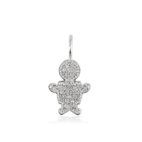 Small Cubic Zirconia Kids Sziro Boy Pendant for Mom, Grandma in 14k White Gold