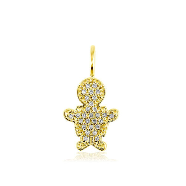 Small Cubic Zirconia Kids Sziro Boy Pendant for Mom, Grandma in 14k Yellow Gold
