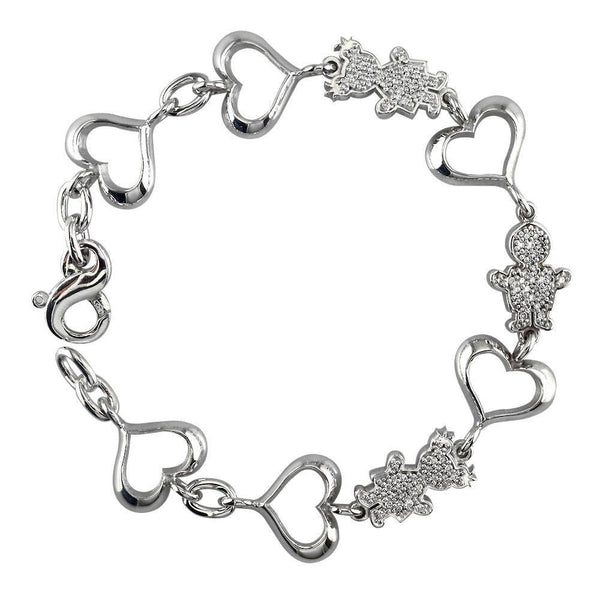 Small Diamond Kids Sziro Boys and Girls Heart Charm Bracelet