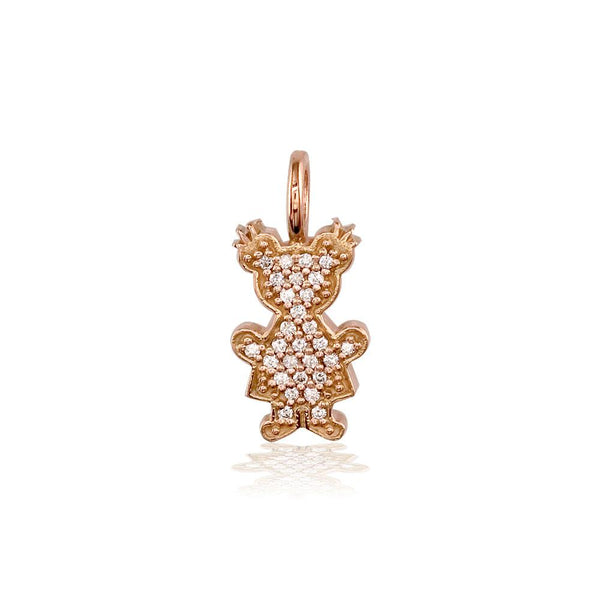 Small Cubic Zirconia Kids Sziro Girl Pendant for Mom, Grandma in 14k Pink Gold