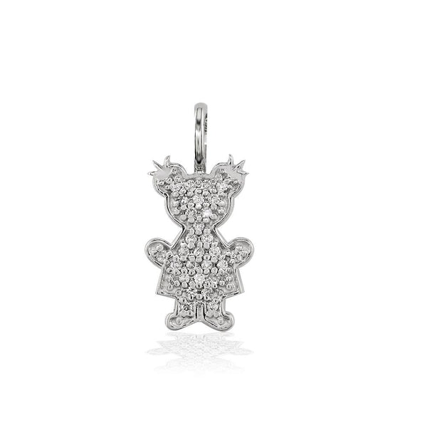 Small Cubic Zirconia Kids Sziro Girl Pendant for Mom, Grandma in 14k White Gold