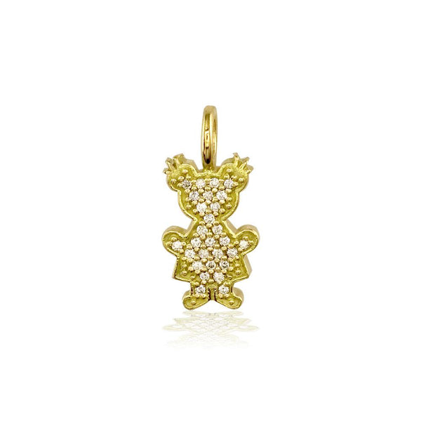 Small Cubic Zirconia Kids Sziro Girl Pendant for Mom, Grandma in 14k Yellow Gold