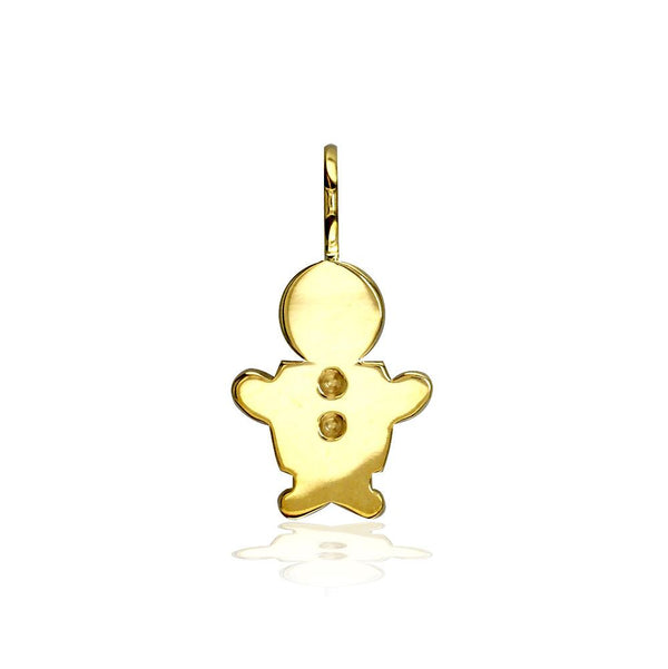 Classic Kids Small Sziro Boy Charm for Mom, Grandma in 14k Yellow Gold