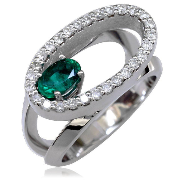 Large 14K Gold Open Oval Diamond and Emerald Halo Ring with Split Sides
