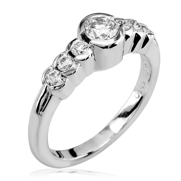 Diamond Ring with Tapering Diamond Sides