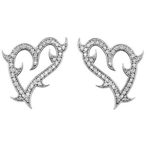 Small Guarded Love Heart Earrings in 18K