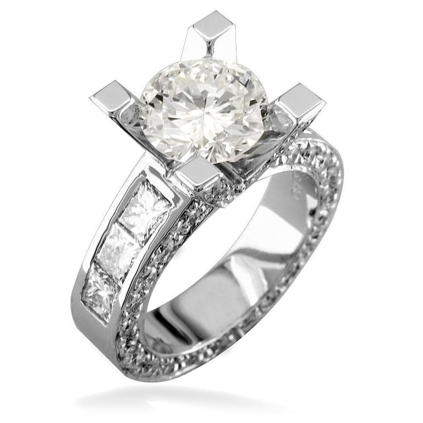 Round Diamond Engagement Ring Setting in 14K White Gold, 2.3CT Total Sides