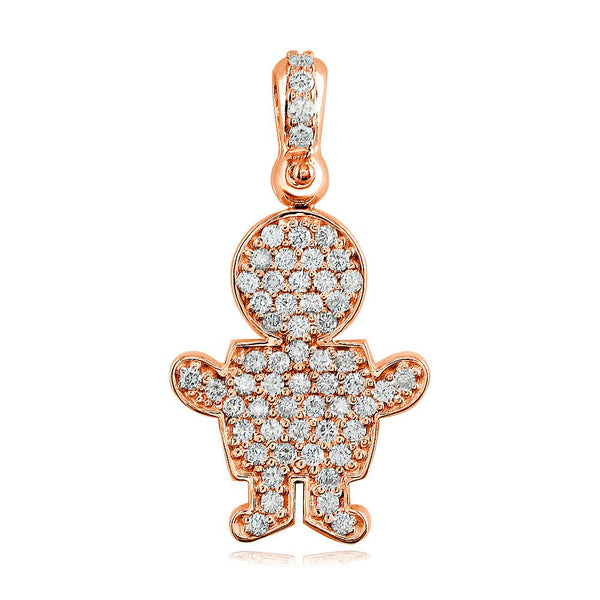 Large Diamond Kids Sziro Boy Pendant for Mom, Grandma in 14k Pink Gold