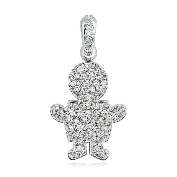 Large Diamond Kids Sziro Boy Pendant for Mom, Grandma in 18k White Gold