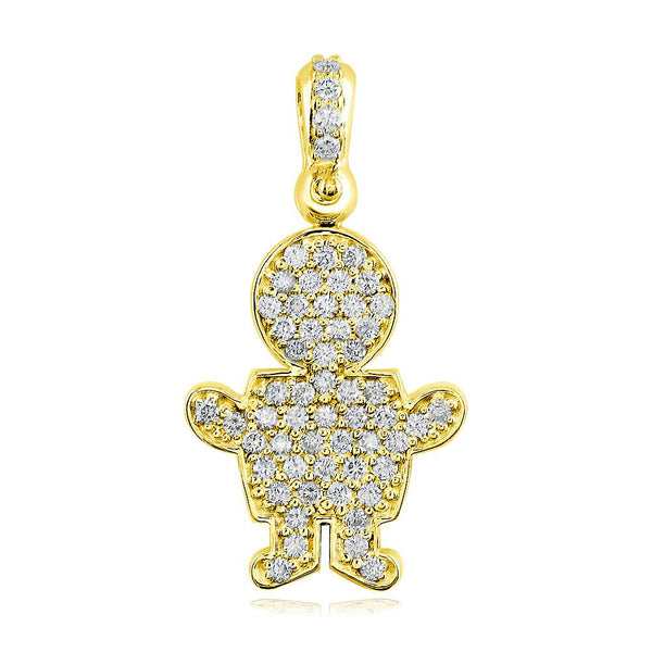 Large Diamond Kids Sziro Boy Pendant for Mom, Grandma in 18k Yellow Gold