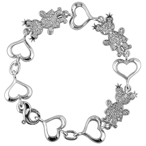 Large Diamond Kids Sziro Girl Heart Charm Bracelet