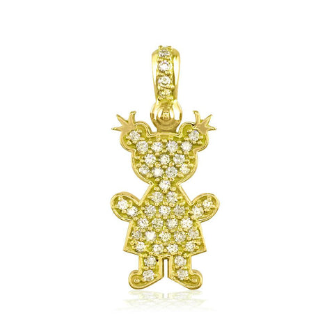 Large Diamond Kids Sziro Girl Pendant for Mom, Grandma in 18k Yellow Gold