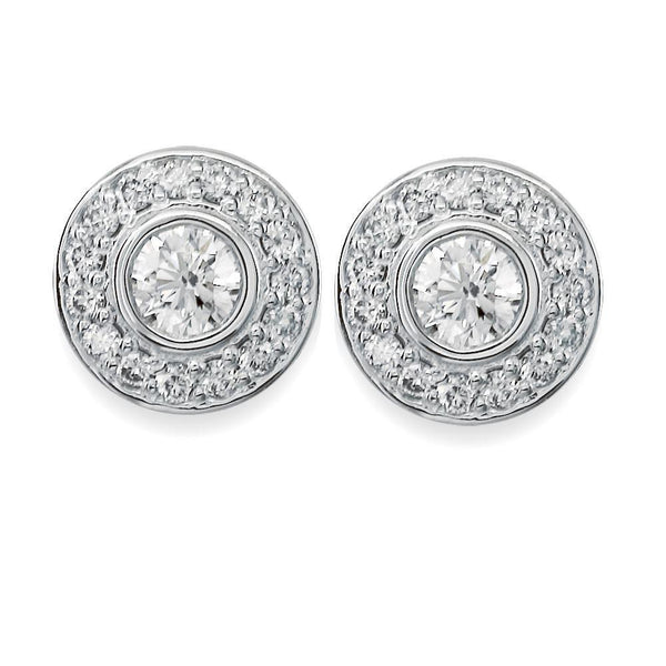 Diamond Bezel Earrings in 18K, 1.30CT Total
