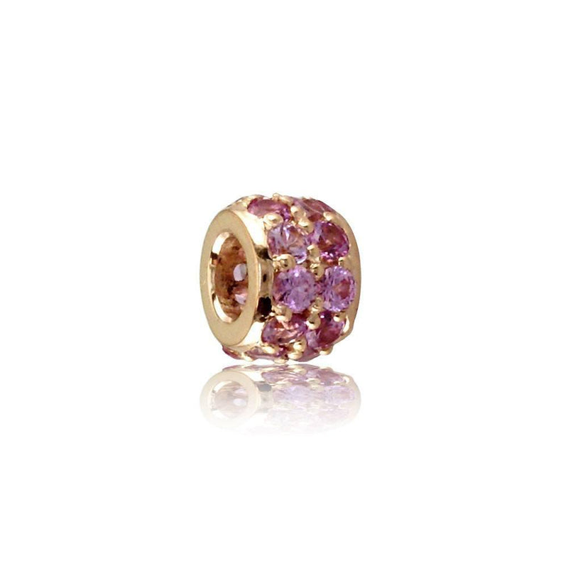 Wide 14K Pink (Rose) Gold and Pink Sapphire Spacer, Roundel