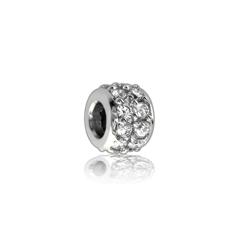 Wide Cubic Zirconia Sterling Silver Spacer, Roundel