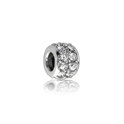 Wide Diamond Spacer, Roundel in 14K White Gold