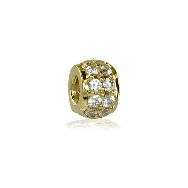 Wide Cubic Zirconia 14K Yellow Gold Spacer, Roundel