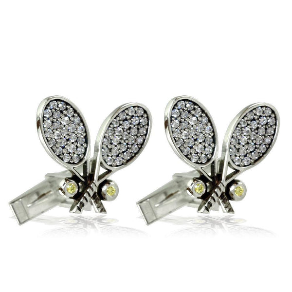 Cubic Zirconia Tennis Racket Cufflinks in Sterling Silver