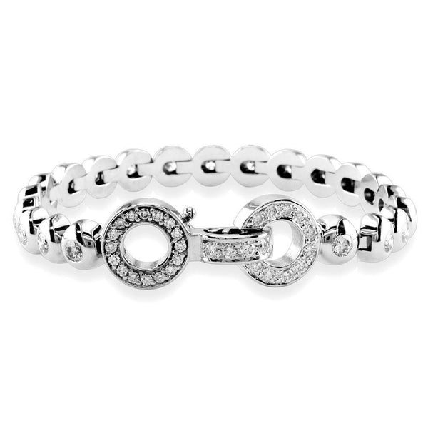 Diamond Bezel Link Bracelet with Diamond Circles Lock