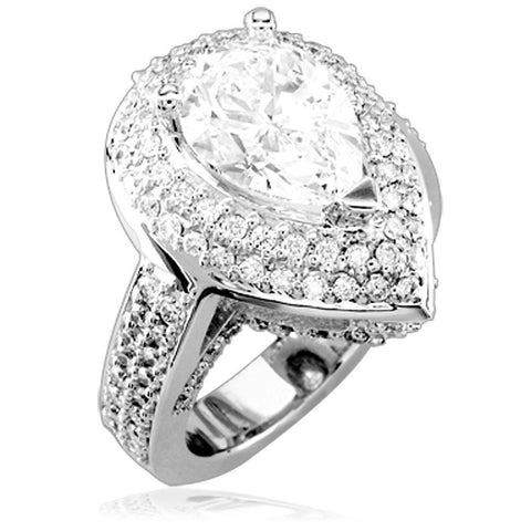 Pear Shape Diamond Engagement Ring Setting, 2.0CT Total Sides in 14K White Gold