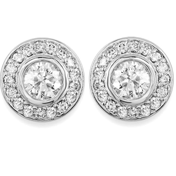 Diamond Bezel Earrings in 18K, 2.15CT Total