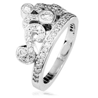 Diamond Tiara Ring, 0.93CT in 18k White Gold