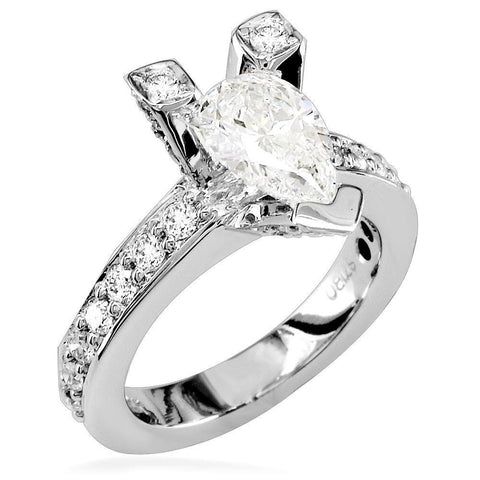 Pear Shape Diamond Engagement Ring Setting in 14K White Gold, 1.0CT Total Sides