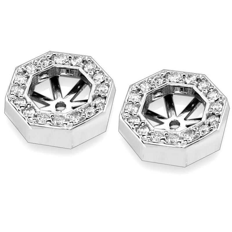 Diamond Octogon Earring Stud Jackets in 18K