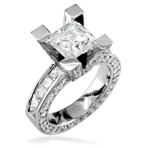 Radiant Cut Diamond Engagement Ring Setting in 14K White Gold, 2.8CT Total Sides