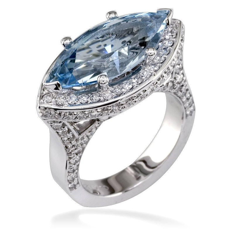 Marquise Shape Aquamarine and Diamond Ring