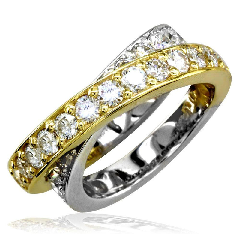 Two-Tone Crossover Diamond Ring in 18K, 3.58CT