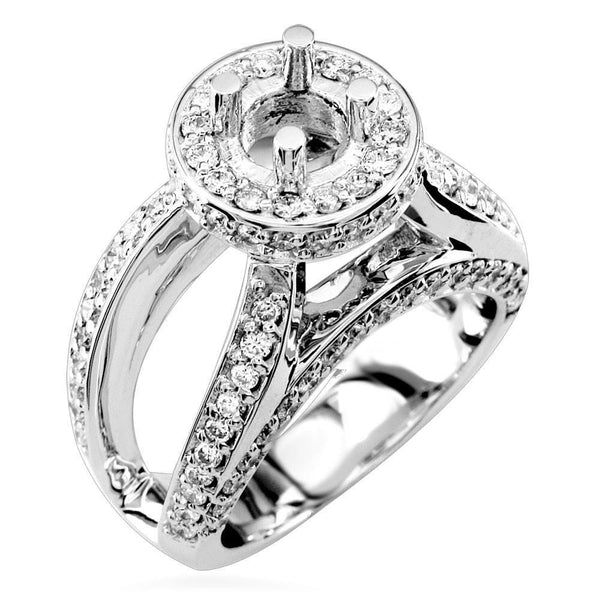 Diamond Halo Engagement Ring with Open Sides, 1.15CT in 18k White Gold