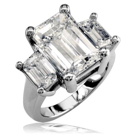 Large Emerald Cut Three Stone Ring LR-Z3595