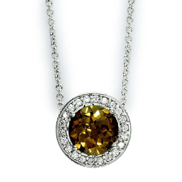 Diamond Circle Pendant and Chain with Whiskey Quartz Center in 18K Gold