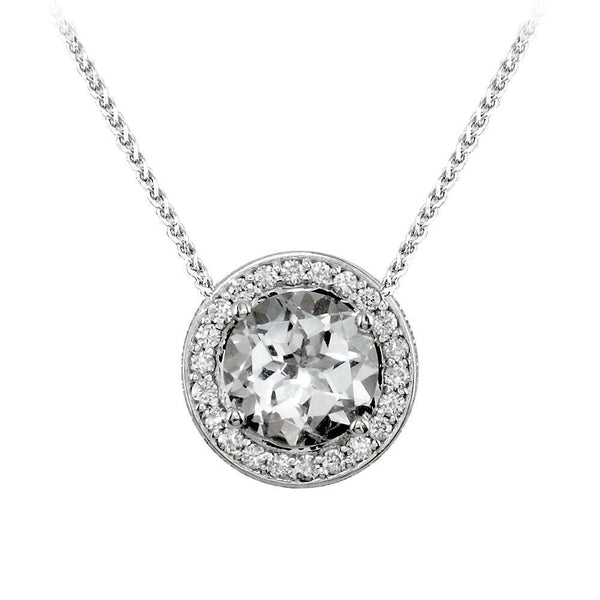 White Topaz and Diamond Pendant with Chain