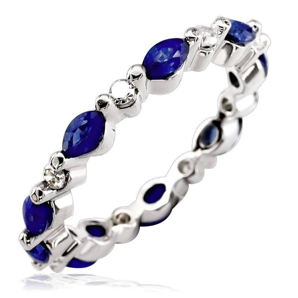 Marquise Shape Sapphire and Diamond Eternity Band in 14K White Gold