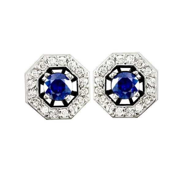 Sapphire Studs with Diamond Jackets