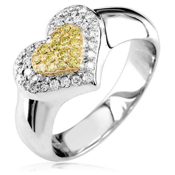 Two-Tone Diamond Heart Ring in 18K