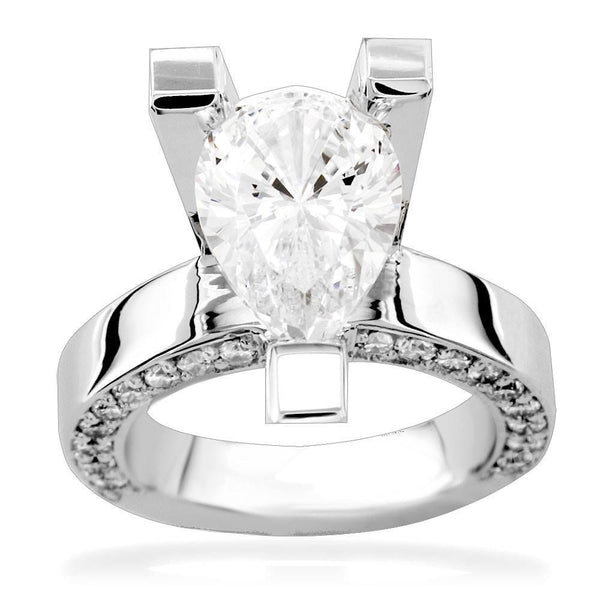 Pear Shape Diamond Engagement Ring Setting in 14K White Gold, 2.0CT Total Sides