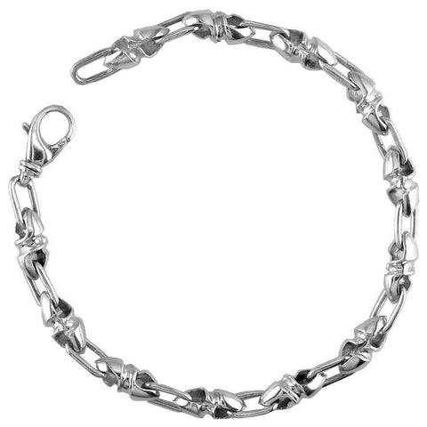 Mens Small Twisted Bullet Links Sterling Silver Bracelet