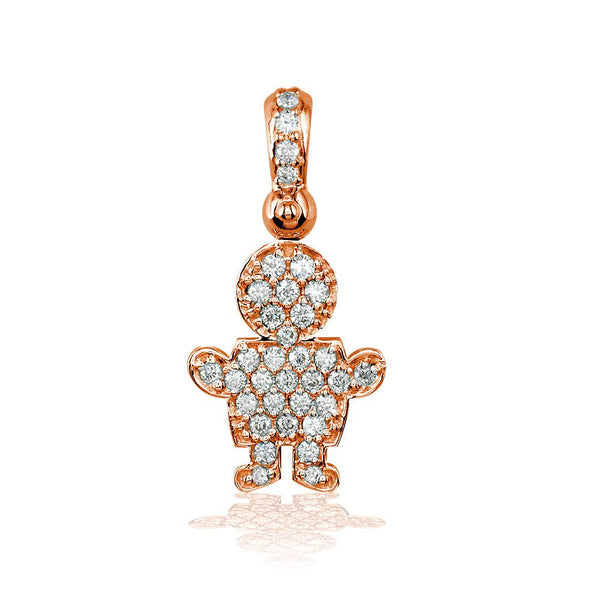 Medium Diamond Kids Sziro Boy Pendant for Mom, Grandma in 18k Pink Gold