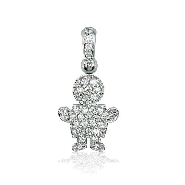 Medium Diamond Kids Sziro Boy Pendant for Mom, Grandma in 14k White Gold