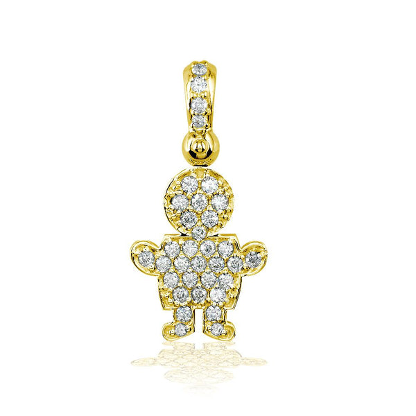 Medium Diamond Kids Sziro Boy Pendant for Mom, Grandma in 14k Yellow Gold