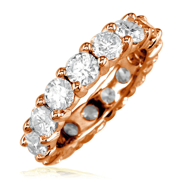 Diamond Eternity Band, Round Diamonds Set with Shared Prongs, 4.95CT in 14K Pink Gold
